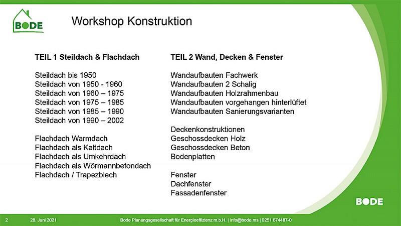 Agenda des Workshops - Teil 1 und 2