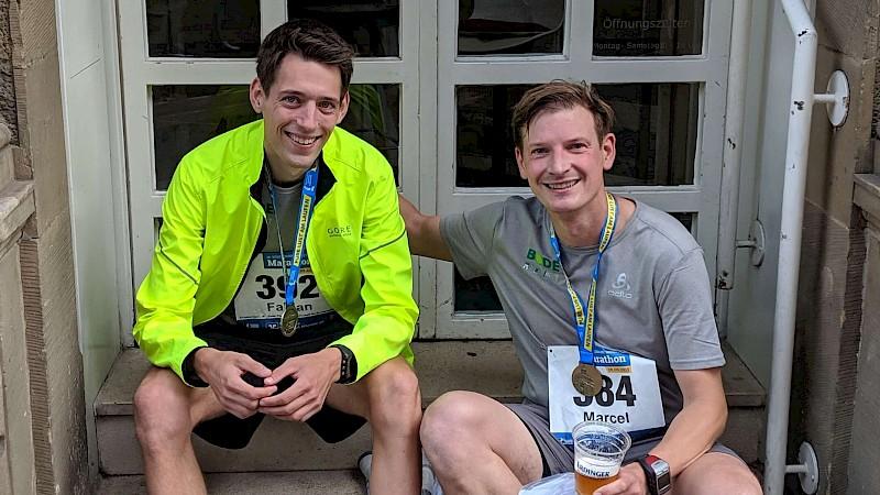 Fabian Krüskemper und Marcel Stüer nach dem Marathon